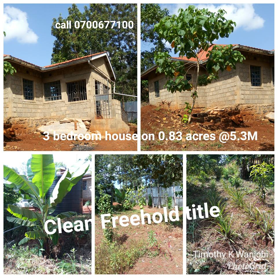 1 acre for sale at Makuyu, 500 meters off tarmac( Makuyu-Mbombo rd) with a 3 br house Sh 5.3M